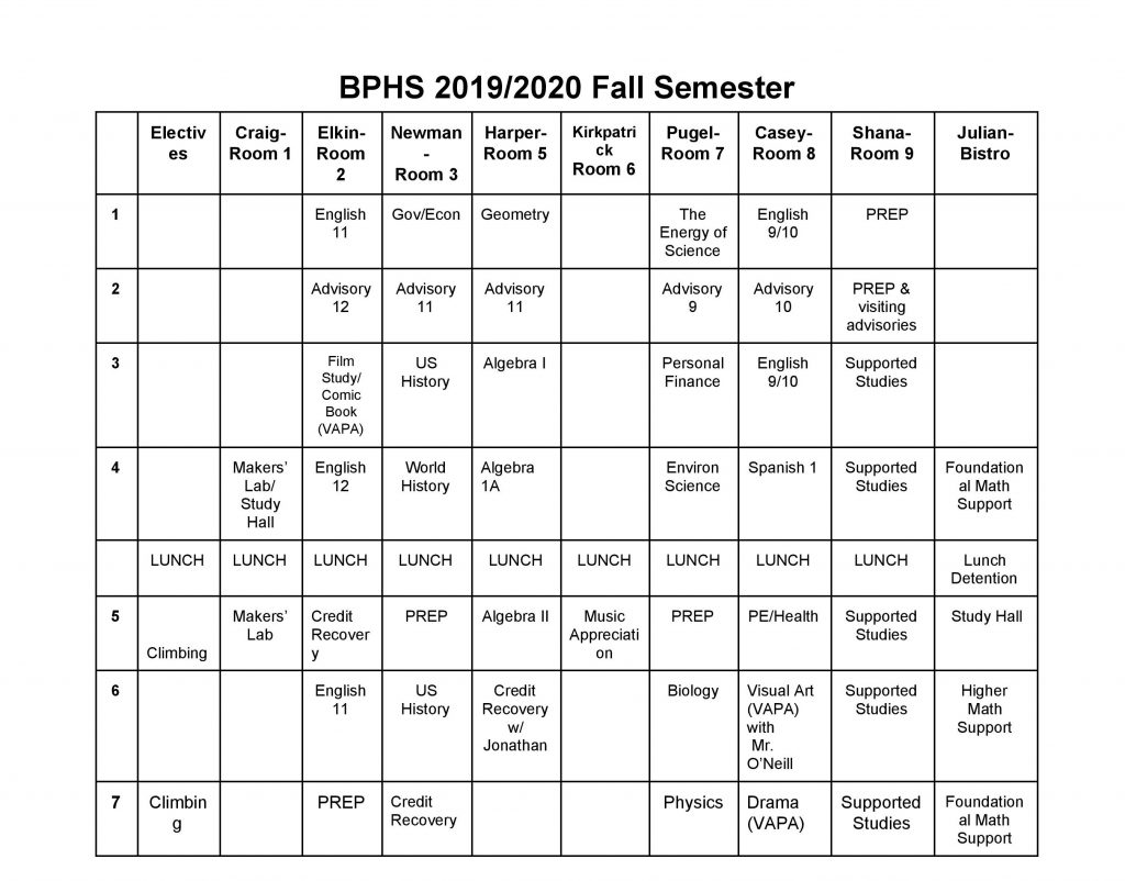 bitney prep schedule